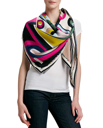 Circle Strips Timeless Silk Scarf, Fuchsia/Multicolor