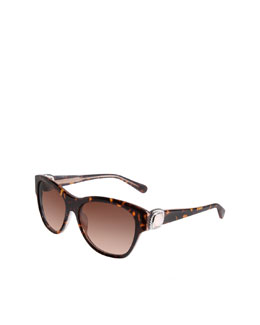 David Yurman Albion Wayfarer Sunglasses, Tortoise/Rose Quartz
