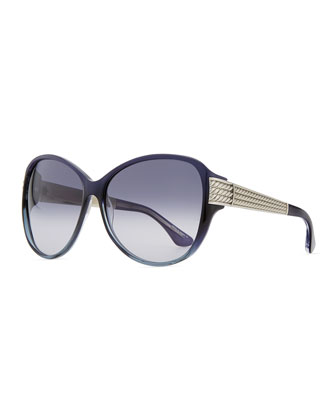 Stretched Wheaton Sunglasses, Iolite/Silver