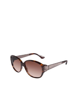 David Yurman Stretched Wheaton Sunglasses, Tortoise/Brown