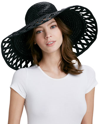 Maribel Wide-Brim Squishee Hat, Black