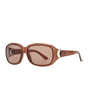 Rounded-Rectangle Sunglasses, Opal Brown