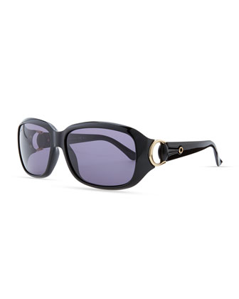 Rounded-Rectangle Sunglasses, Shiny Black