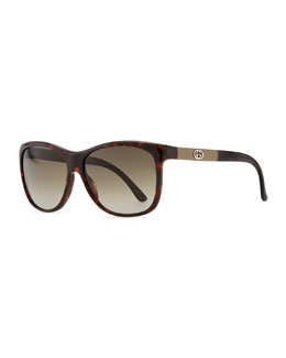 Gucci Gradient Havana Sunglasses, Red/Brown