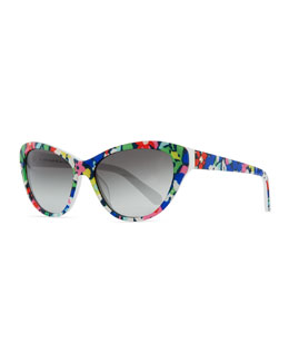 kate spade new york della cat-eye sunglasses, margarita floral