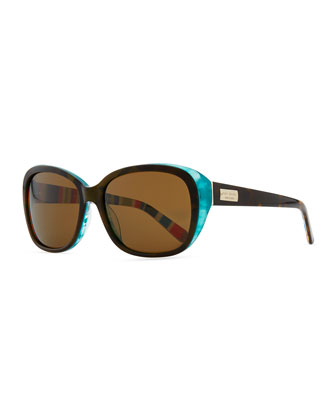 hilde rounded sunglasses, tortoise/turquoise
