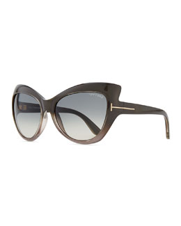 Tom Ford Bardot Sharp Cat-Eye Sunglasses, Gray