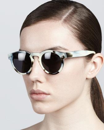 Leonard Round Sunglasses, Horn