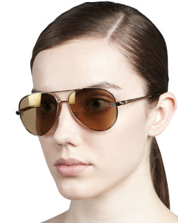 Givenchy Shiny Aviator Sunglasses, Gold Flash