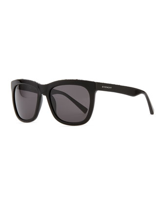 Crystal-Trim Square Sunglasses, Black