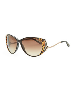 Roberto Cavalli Drop-Temple Cat-Eye Sunglasses, Black