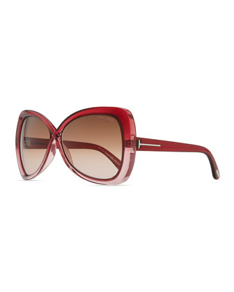 Jade Cross-Bridge Sunglasses, Red/Brown