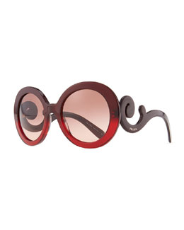 Prada Sunglasses Baroque Round Sunglasses, Red