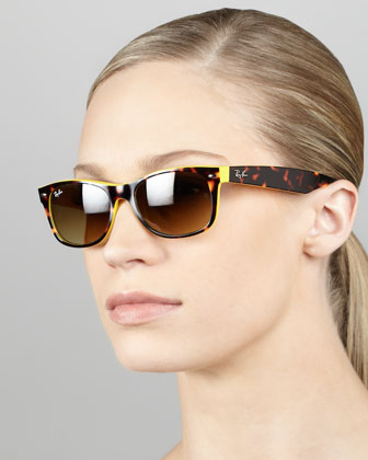 Two-Tone Wayfarer Sunglasses, Tortoise/Yellow