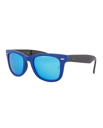 Folding Wayfarer Sunglasses, Navy