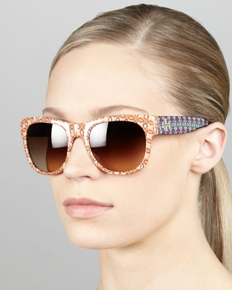 Geometric-Print Frames with Contrast Arms, Orange/Purple