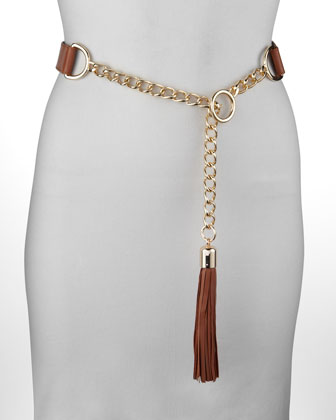 Chain-Leather Tassel Belt, Rust