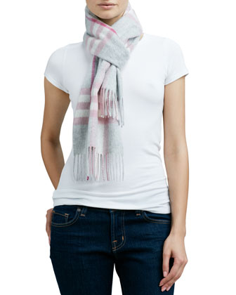 Giant Icon Check Cashmere Scarf, Blossom