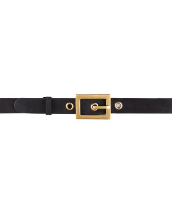 Suede Grommet Belt, Black/Gold