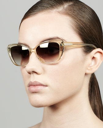 Javotte Beveled Cat-Eye Sunglasses, Champagne