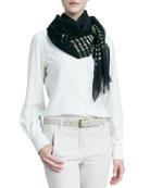 Nocturne Striped Shimmer Cashmere Scarf, Black/Gold