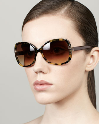 T-Logo-Temple Butterfly Sunglasses