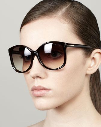 Alicia Angled Round Sunglasses, Shiny Havana