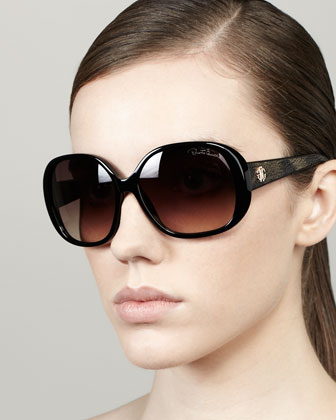 Taj Soft Square Sunglasses, Black/Leopard