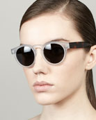 Leonard Round Sunglasses, Clear/Havana