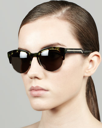 Tortoise Half-Cat-Eye Sunglasses, Green