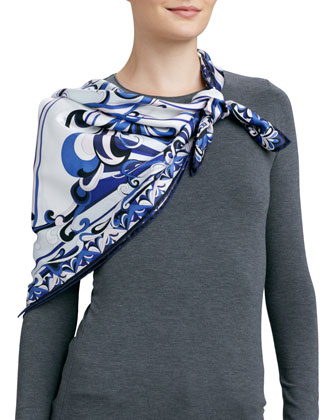Neo Singapore Printed Silk Scarf, White/Blue