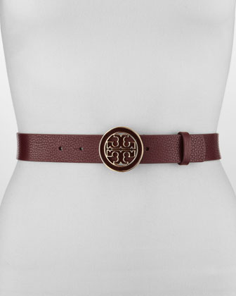 Amanda Logo-Buckle Leather Belt, Dark Plum
