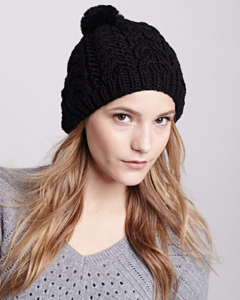 Rabbit-Pom Cable Knit Cap, Black