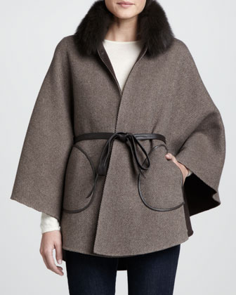 Fur-Trim Herringbone Wool Tie-Waist Cape