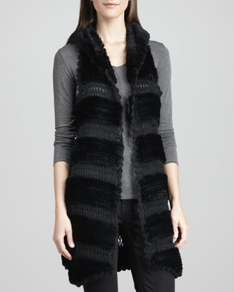 Rex Rabbit Fur & Knit Vest, Black