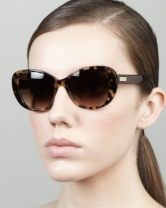 emery cat-eye sunglasses, camel tortoise
