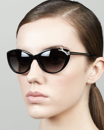livia bow cat-eye sunglasses, black