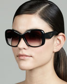 Heritage Logo Square Sunglasses, Black