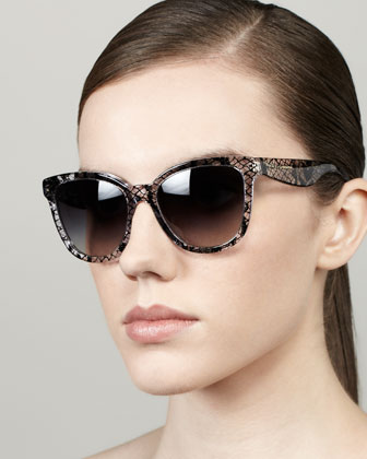 Lace-Print Square Sunglasses