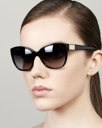 Logo Plaque Square Sunglasses, Black