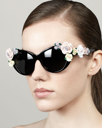 Roses Cat-Eye Sunglasses, Black