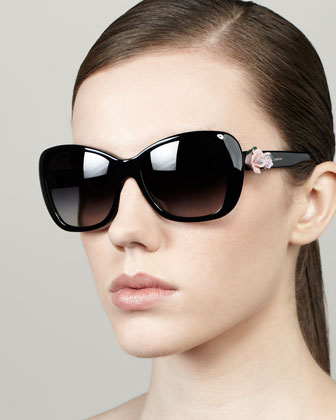 Rose-Temple Sunglasses, Black