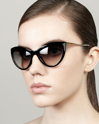 Large Cat-Eye Sunglasses, Black
