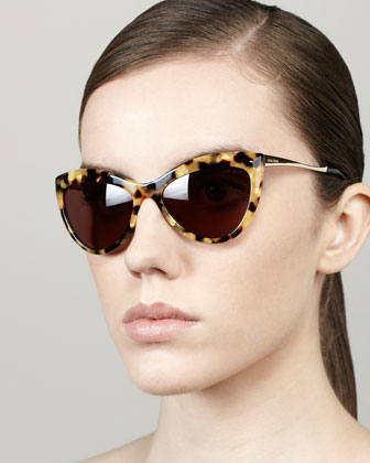 Large Cat-Eye Sunglasses, Golden Havana