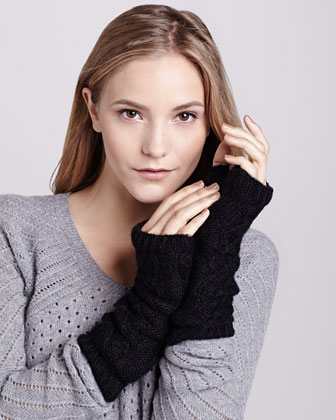 Knit Micro-Fur-Lined Arm Warmers