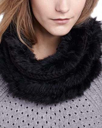 Classic Knit Fur Loop Scarf, Black