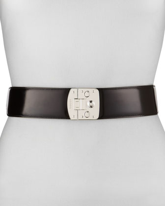 Nonadjustable Women's Leather Belt, Black
