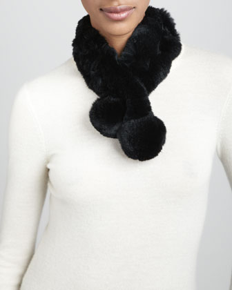 Rabbit Fur Neck Warmer, Black