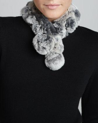 Rabbit Fur Neck Warmer, Gray