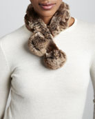 Rabbit Fur Neck Warmer, Gray/Brown